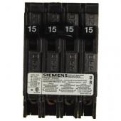 Siemens Quad Type Q (2 Outer 1-Pole 15Amp & 1 Inner 2-Pole 15 Amp) Circuit Breaker, 10,000 A.i.c. 120/240V
