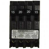Siemens Quad Type Q (2 Outer 1-Pole 15Amp & 1 Inner 2-Pole 20 Amp) Circuit Breaker, 10,000 A.I.C. 120/240V