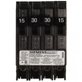 Siemens Quad Type Q (2 Outer 1-Pole 15Amp & 1 Inner 2-Pole 30 Amp) Circuit Breaker, 10,000 A.I.C. 120/240V