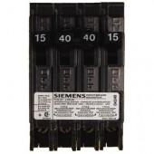 Siemens Quad Type Q (2 Outer 1-Pole 15Amp & 1 Inner 2-Pole 40 Amp) Circuit Breaker, 10,000 A.I.C. 120/240V
